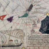 Test 126. Exploradors catalans a l'Àfrica. Fragment de l'Atles Català obra d'Abraham Cresques (1375). Font Bibliothèque Nationale de France