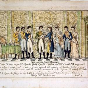Carles IV i Ferran VII li venen la corona espanyola a Napoleó. Representació de les Abdicacions de Baiona. Font Museo de Historia de Madrid
