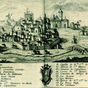 L'Exèrcit de Catalunya derrota els borbònics a Manresa. Gravat de Manresa (mitjans del segle XVIII). Font Biblioteca Nacional de España