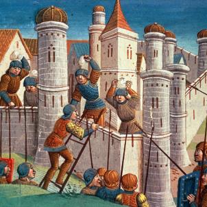 Test 127. Les jurisdiccions medievals catalanes. Representació d'un atac a una ciutat medieval. Font Biblioteca de la Universitat de Torí