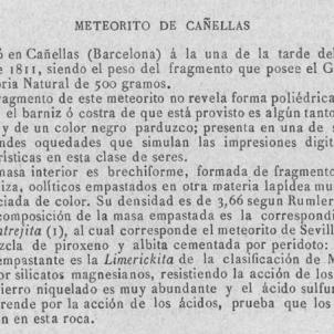 El Meteorit de Canyelles cau sobre Catalunya. Extracte del Semanario Farmaceutico. Font Biblioteca Virtual de la Real Academia de Farmàcia