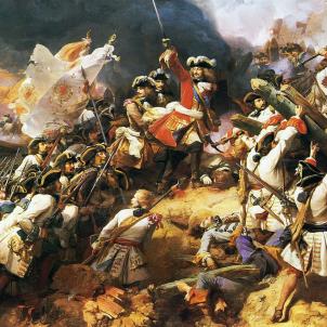 Esclata la Guerra de Successió hispànica. Representació de la batalla de Denaint. Font Palau de Versalles