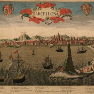 El partit austriacista català decideix unir se a l'aliança internacional anti borbònica. Gravat de Barcelona (1700). Font Cartoteca de Catalunya