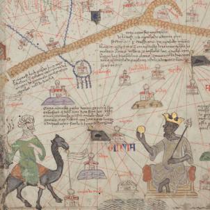 Al·legoria del comerç d'or i d'esclaus amb l'Àfrica subsaharina a l'Atles Català d'Abraham Cresques (1375). Font Bibliothèque Nationale de France