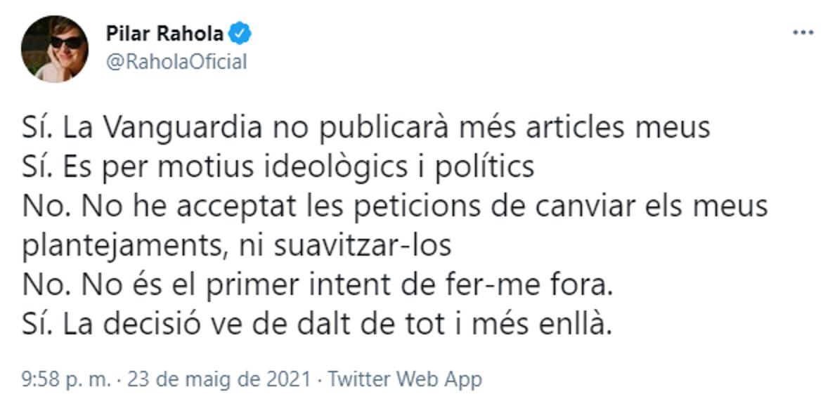 TUIT PILAR RAHOLA RESPUESTA VANGUARDIA