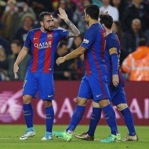 Celebracio gol Messi Alcacer Suarez Barça EFE