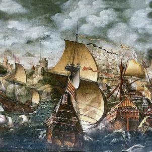 L'Armada Invencible salpa en direcció a la seva derrota. Batalla de Gravelinas. Font Worshipful Society of Apothecaries of London