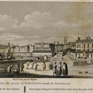 El regim bonapartista executa els dissidents de Barcelona. Vista de Barcelona (1810), obra de Laborde. Font Institut Nacional de Història de l'Art. Paris