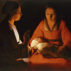 Representació del nen, la mare i l'àvia (Jesús, la Mare de Deu, i Santa Anna), obra de Georges Latour (segle XVII). Font Museu de Belles Arts de Rennes