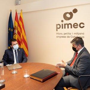 President Govern Pere Aragonès i presidente Pimec Antoni Cañete - Pimec