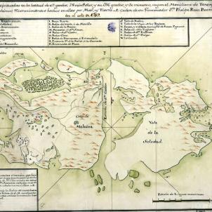 Lluís Vernet pren posessió de les illes Malvines. Mapa de les Malvines (1770). Font Real Escuela de Navegación de Cadiz