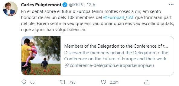 TUIT Carles Puigdemont