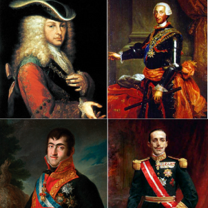 Borbons. Felipe V, Carlos III, Fernando VII i Alfonso XIII