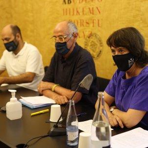 Rueda de Premsa Caja Resistencia Elisenda Paluzie Marcel Mauri i Pep Cruanyes_Sergi Alcàzar