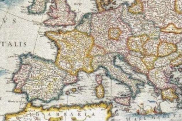 Mapa d'Europa (circa 1645) obra de Jan Blaeu. S'aprecia clarament la linia que separa Catalunya i Espanya. Font Biblioteca Digital Hispánica
