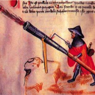 Els catalans porten les armes de foc als camps de batalla italians. Canó medieval. Font Pinterest