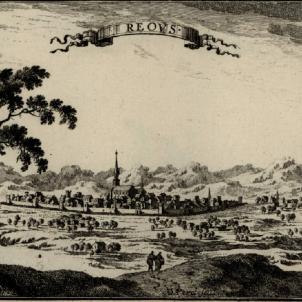 La Resistència anti borbònica catalana inicia l'assalt de ciutats. Gravat de Reus (finals del segle XVII). Font Cartoteca de Catalunya