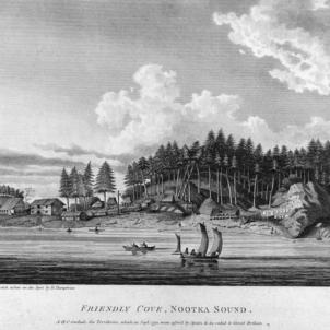 Joan Perés, primer europeu que va tocar les costes de Nootka i Vancouver. Gravat de Nootka (principis del segle XIX). Font Wikimedia Commons