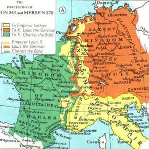 Trossejen l'Imperi carolingi, i els comtats catalans passen a França. Mapa Tractat de Verdum. Font Wikimedia Commons