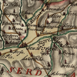 Versalles, farts de Felip V  ocupen el nord de Catalunya. Fragment d'un mapa borbònic de Catalunya (1716). Font Cartoteca de Catalunya (1)