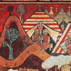 Jaume I salpa a la conquesta de Mallorca, Campament de Jaume I. Font MNAC (1)