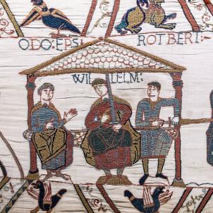 Mor Guillem el Conqueridor, primer nexe entre Anglaterra i Catalunya. Representació de Guillem al Tapis de Bayeaux. Font Museu de Bayeaux