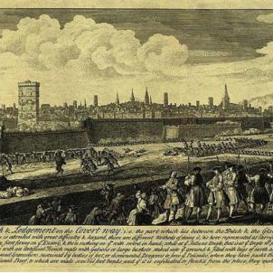 Els defensors guanyen el primer combat del setge de 1714. Gravat del setge de 1713 1714. Font Wikimedia Commons (1)