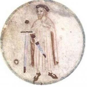 Nomenen Guifré el Pilós, comte de Barcelona. Representació del comte Guifré. Font Rotllo de Poblet (1)