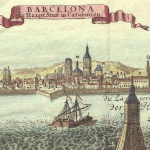 Gravat que representa Barcelona abans del setge de 1714, obra de Johann Stridbeck (1740). Font Cartoteca de Catalunya