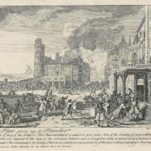 Test 135. 11 de setembre de 1714. Gravat que representa els combats a l'interior de la ciutat. Font Cartoteca de Catalunya