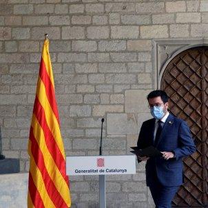 El presidente del Govern, Pere Aragonès en la comparecencia de la mesa del diálogo del miércoles - Efe