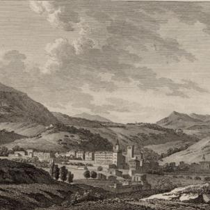 Cau Cardona, la darrera plaça austriacista del país. Gravat del castell i vila de Cardona (segle XIX). Font Cartoteca de Catalunya