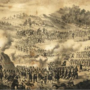 Els liberals afusellen 71 carlins a Guimerà. Representació d'una batalla durant la I Guerra Carlina. Font Wikimedia Commons