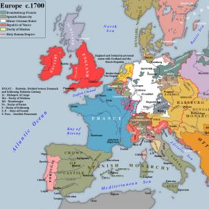 Lluis XIV de França retorna Catalunya i Valònia a la monarquia hispànica. Mapa d'Europa després del Tractat de Ryswick. Font Wikimedia Commons