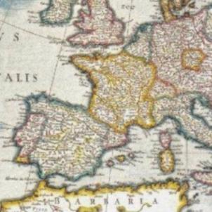Felip IV intenta desesperadament aturar la separació de Catalunya. Mapa d'Europa (1645). Font Biblioteca Digital Hispànica (1) (1)