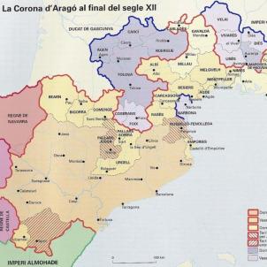 Mor Ramon de Tolosa, l'aliat dels catalans en la guerra dels catars. Mapa de la corona catalanoaragonesa al segle XII. Font Enciclopedia