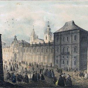 S'aprova oficialment la fundació de la Universitat de Cervera. Gravat del segle XVIII