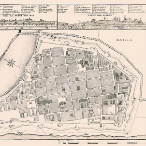 Els catalans de Cavite i de Manila passen a ser subdits britànics. Plànol de Manila (segle XIX). Font Library of University of Texas