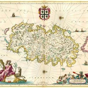 Sardenya s'incorpora a l'edifici politic català. Mapa de Sardenya. Jansonius. Principis del segle XVII. Font Wikimedia