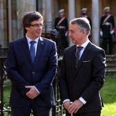 El president de la Generalitat, Carles Puigdemont, amb el lehendakari basc, Íñigo Urkullu