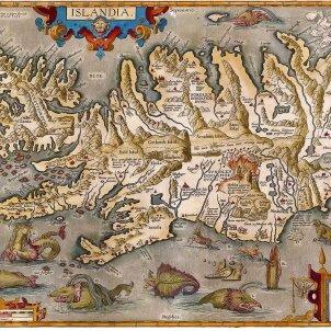 El núvol toxic del volcà islandès Laki, arriba a Catalunya. Mapa d'Islàndia. Finals del segle XVI. Font Arxiu d'El Nacional