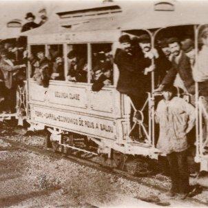 S'inaugura el ferrocarril Reus Salou, el Carrilet. Primer viatge. Font Viquipčdia
