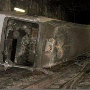 La tragčdia del Metro de Valčncia. Imatge del vagó sinistrat