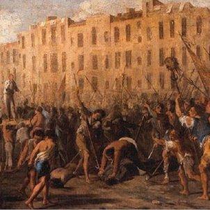 Esclata el Corpus de Sang napolità. Representació de la revolta. Font Wikiwand