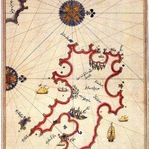 Els turcs massacren Ciutadella de Menorca. Mapa de Menorca del segle XVI. Font Viquipèdia