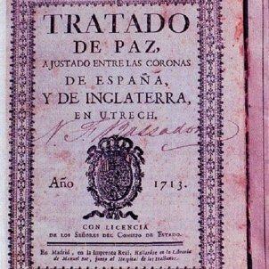 El primer Borbó hispanic regala Gibraltar i Menorca a l'Imperi britanic. Portada del Tractat. Font Viquipedia