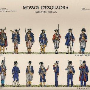 El Parlament refunda el cos dels Mossos d'Esquadra. Uniformes del cos. Font Departament de Governació
