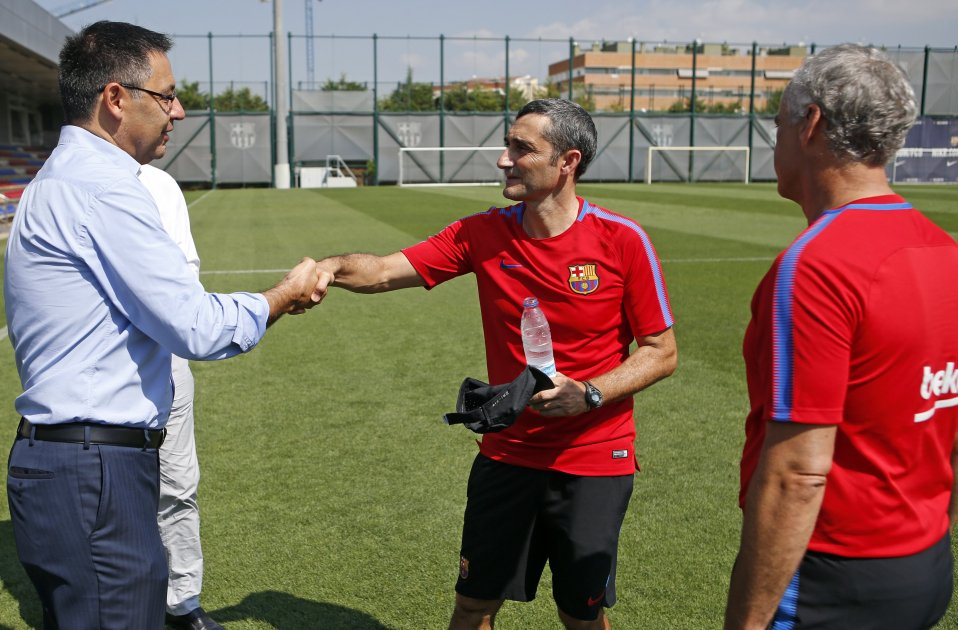 Josep Maria Bartomeu Ernesto Valverde entrenament Barça   FCB