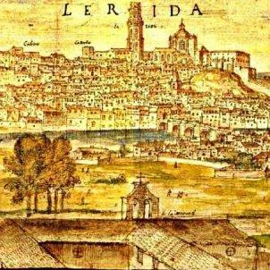 Es posa la primera pedra de la Seu vella de Lleida. Gravat de Wyngaerden. Finals del segle XVI. Font Blog Quina la fem