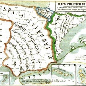 Mapa de l'Espanya governada pels liberals. Mitjans del segle XIX. Font arxiu d'ElNacional